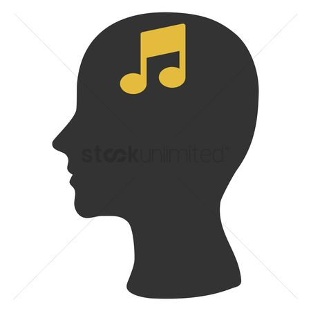Imaginations : Human head silhouette with musical note