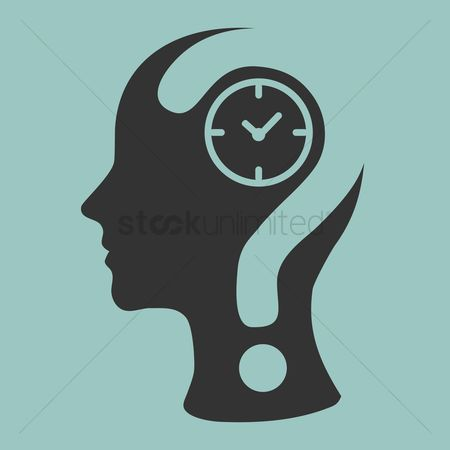 Stopwatch : Human head with question mark and a clock