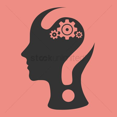 Imaginations : Human head with question mark and gears