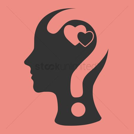 Imaginations : Human head with question mark and hearts