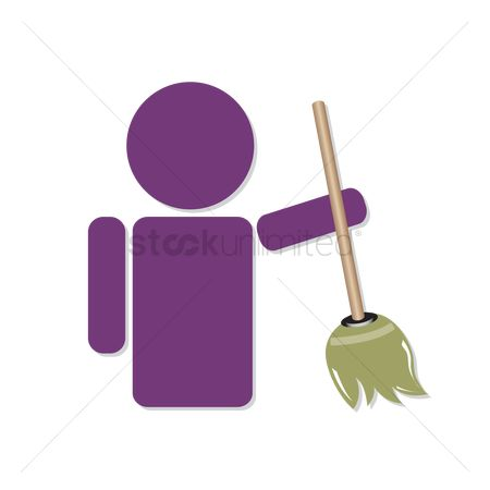 Broom : Human icon holding a broom