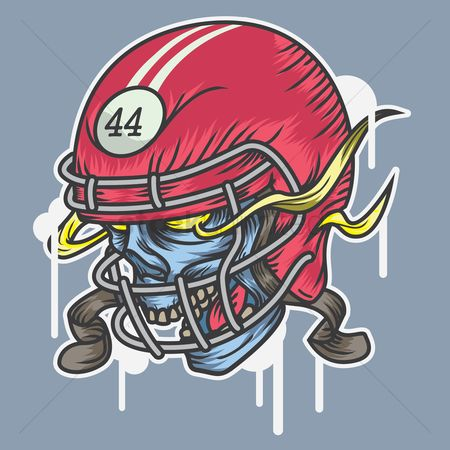 Footballs : Human skull wearing sports helmet