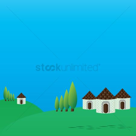 Cottage : Hut and landscape