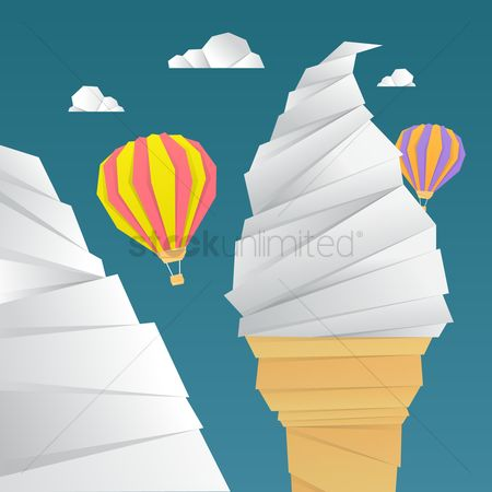Towers : Ice cream tower and hot air balloon