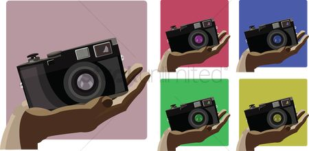 Technology : Icons of camera in hand