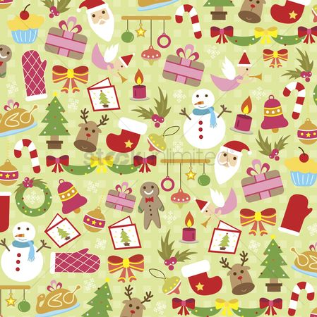 Season : Illustrated christmas icons background design