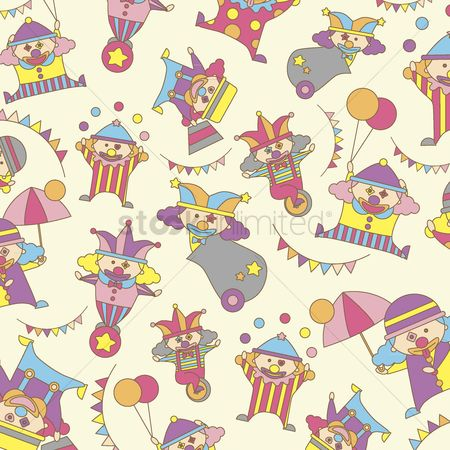 Funfair : Illustrated clowns background design
