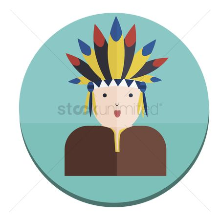 Headdress : Illustration of a tribal native