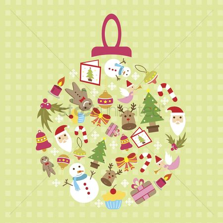 Santa : Illustration of an ornament consisting of christmas icons