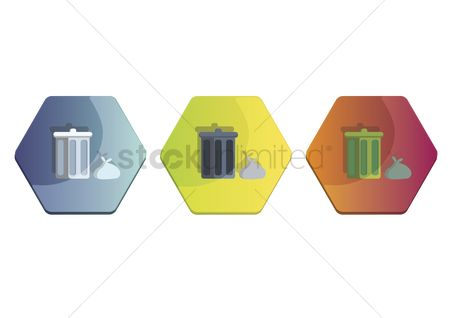 Wastage : Illustration set of dustbin and rubbish bag