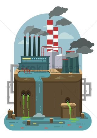 Chimneys : Industry and pollution concept
