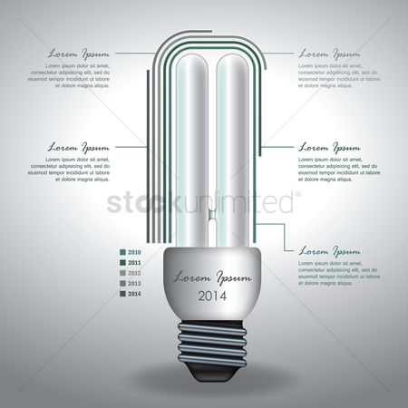 Electricity : Infographic fluorescent bulb