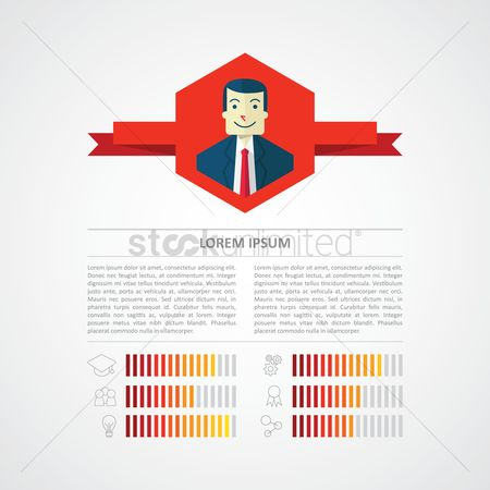 Cogwheels : Infographic of a businessman s profile