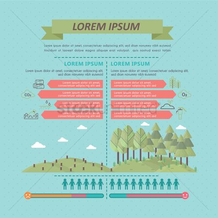 Logs : Infographic of deforestation and afforestation
