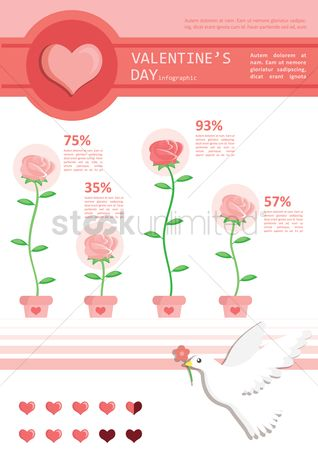 Flower pot : Infographic of valentine s day