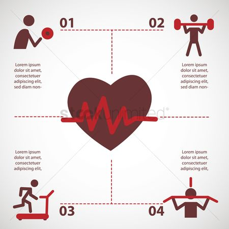 Heart shape : Infographic on exercise activity