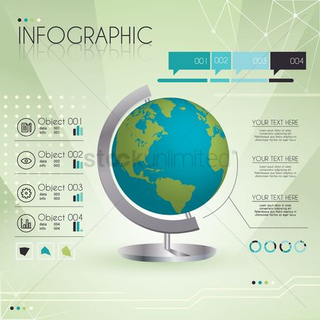 Cogwheels : Infographic with globe element