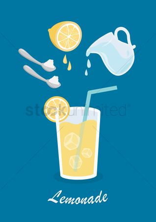 Straw : Ingredients used to make lemonade