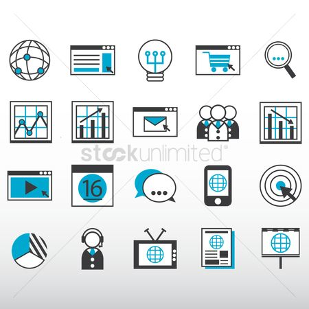Profits : Internet marketing icons collection