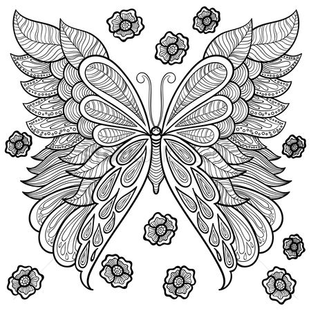 Lines : Intricate butterfly design