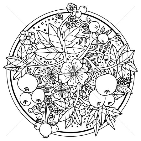 Budding : Intricate flower and berries design