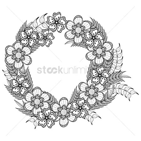 Budding : Intricate flower wreath design