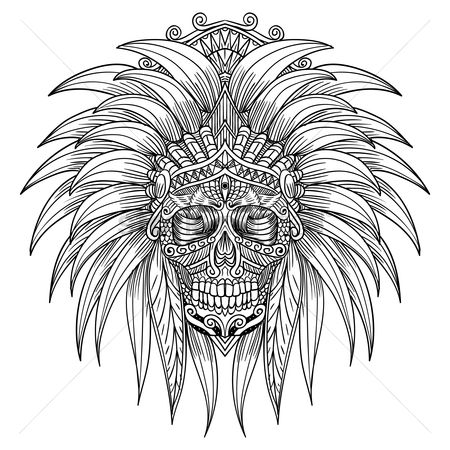 Hand drawn : Intricate skull design