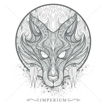 Head : Intricate wolf design