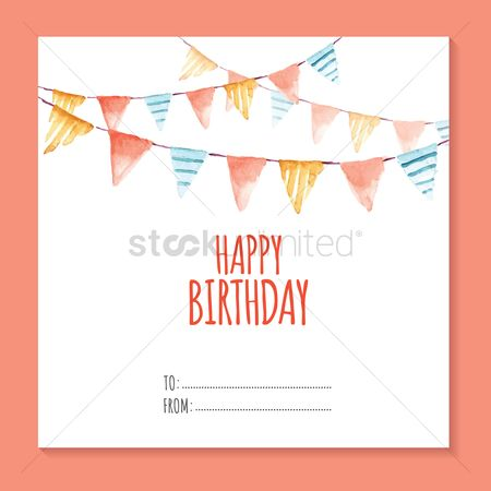 Greetings : Invitation card with bunting flags