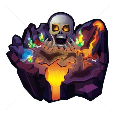 Islands : Island with skull and volcano