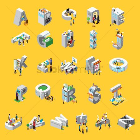 Awning : Isometric alphabet set