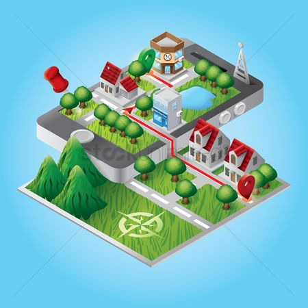 Store : Isometric buildings on smartphone