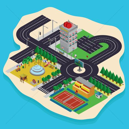 Wooden sign : Isometric city planning design