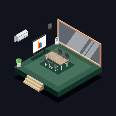 Flower pot : Isometric conference room
