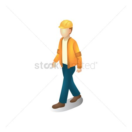 Hard hat : Isometric construction worker walking