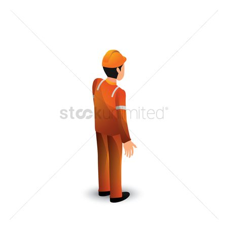 Hard hat : Isometric construction worker