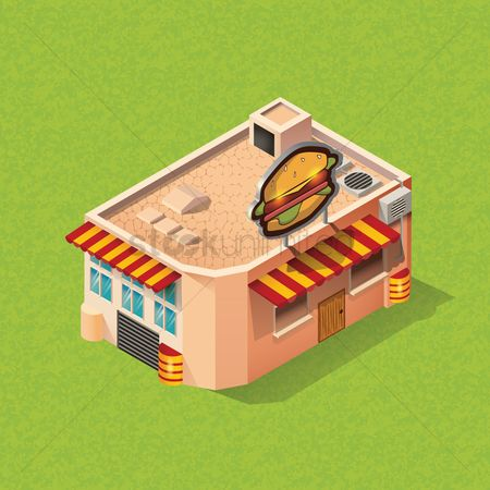 Awning : Isometric fast food restaurant