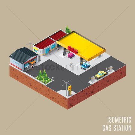 Taxis : Isometric gas station