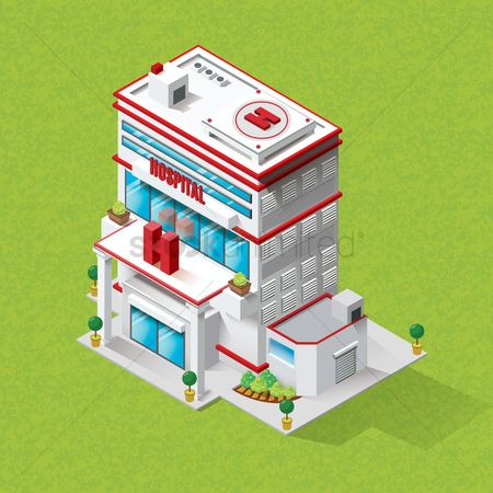 Buildings : Isometric hospital building