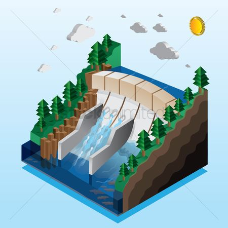 Clean : Isometric illustration of a hydroelectric river