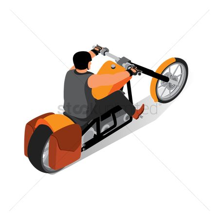 Motorcycles : Isometric man riding on motorbike