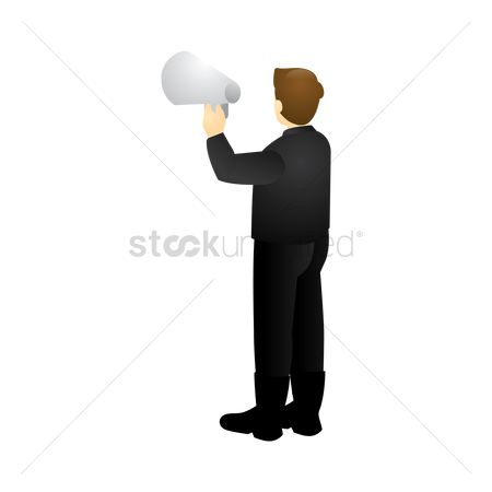Backview : Isometric man with megaphone
