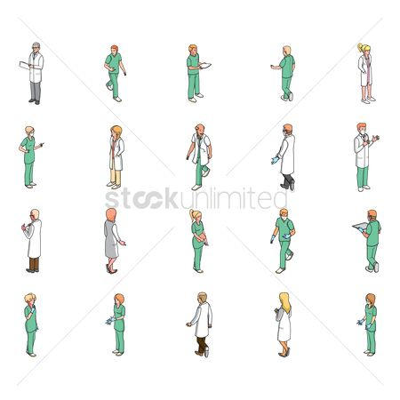 Lady : Isometric medical professional people