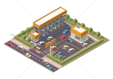 Transport : Isometric multi-storey car parking and service center