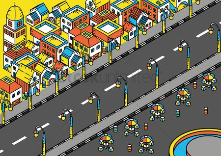Architectures : Isometric of a housing area