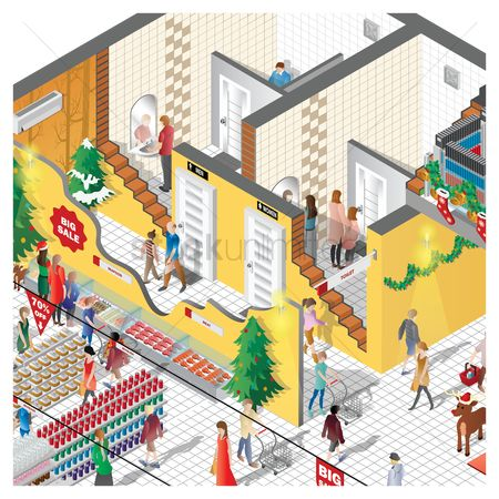 Billing : Isometric of a shopping mall