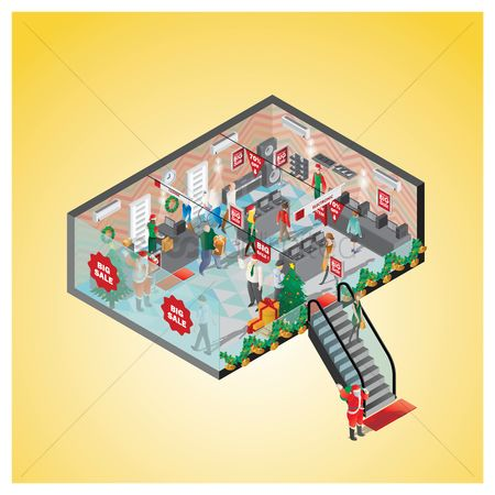 Jingle bells : Isometric of a shopping mall