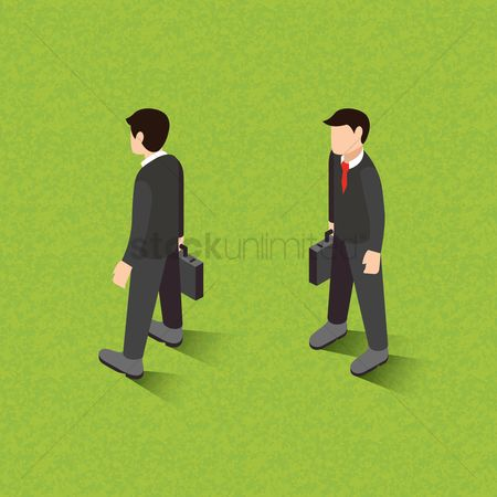 Accessories : Isometric of businessmen holding briefcase