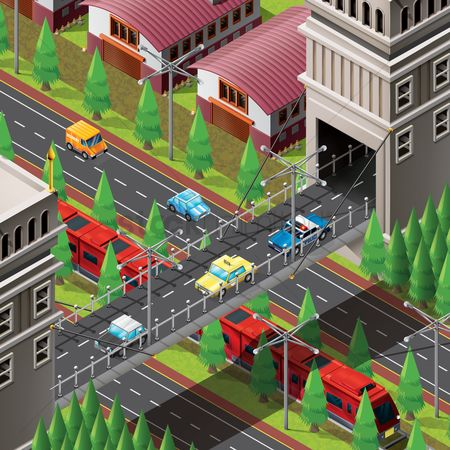 Transport : Isometric of city life