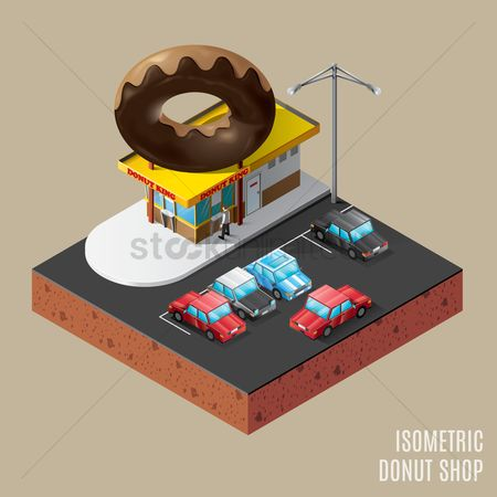 Shops : Isometric of donut shop